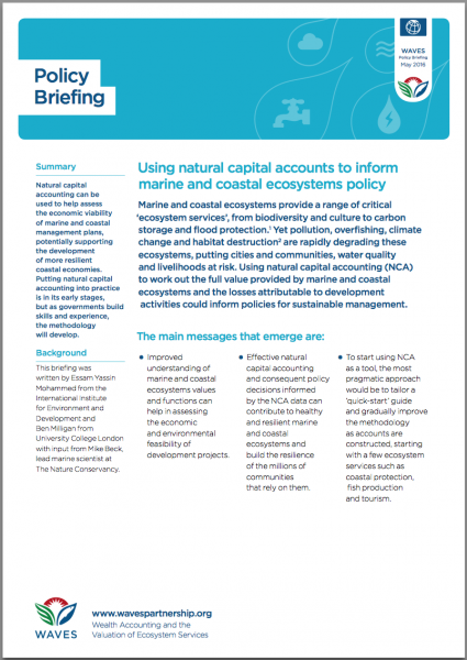 Using natural capital accounts to inform marine and coastal ecosystems policy