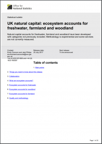 UK natural capital: ecosystem accounts for freshwater, farmland and woodland