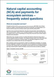 Natural capital accounting (NCA) and payments for ecosystem services - frequently asked questions