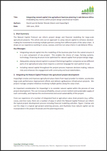 Integration of natural capital into agricultural project business planning in sub Saharan Africa