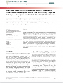 Status and Trends in Global Ecosystem Services and Natural Capital: Assessing Progress Toward Aichi Biodiversity Target 14