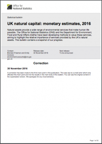 UK Natural Capital: Monetary Estimates, 2016