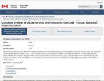 Statistics Canada: Canadian System of Environmental and Resource Accounts - Natural Resource Asset Accounts