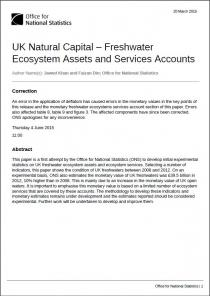 UK Natural Capital – Freshwater Ecosystem Assets and Services Accounts