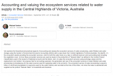 Accounting and valuing the ecosystem services related to water supply in the Central Highlands of Victoria, Australia