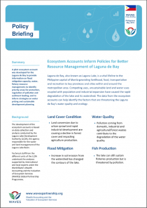 Policy Briefing: Ecosystem Accounts Inform Policies for Better Resource Management of Laguna de Bay