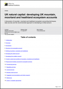 UK natural capital: developing UK mountain, moorland and heathland ecosystem accounts