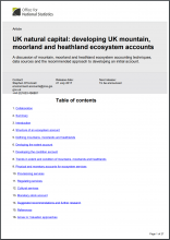 UK natural capital: developing UK mountain, moorland and heathland ecosystem accounts