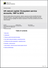 UK Natural Capital Accounts: Ecosystem service accounts, 1997 to 2015